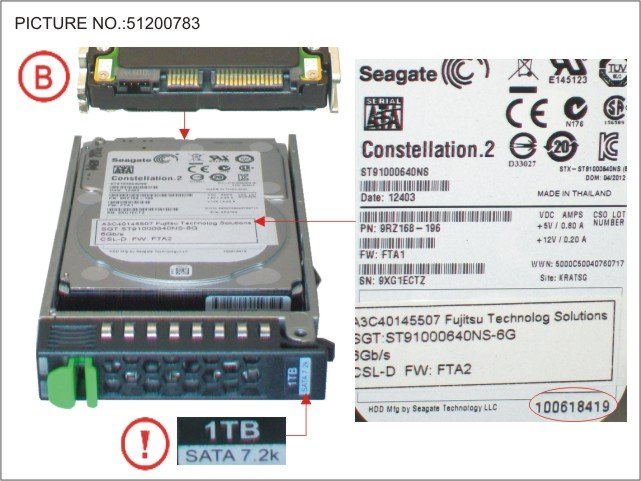 Fujitsu S26361-F3708-L100 FUJITSU HDD SATA 6 Gb/s 1 TB 7200 rpm hot-plug 6,4cm 2,5Zoll business critical